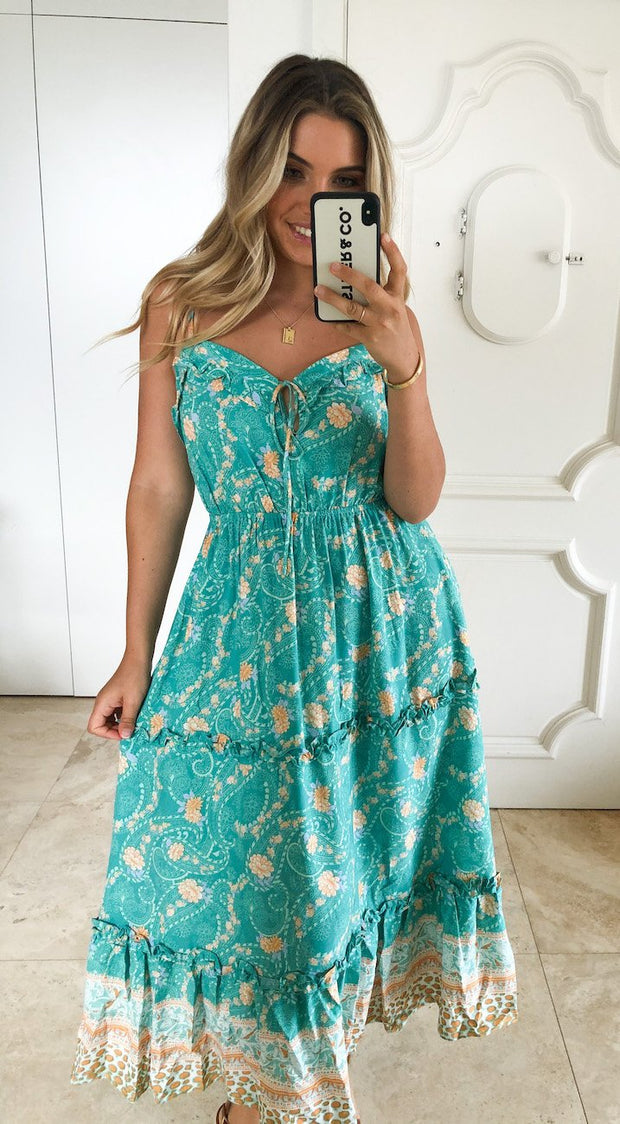 Catelyn Dress - Teal Print-Dresses-Womens Clothing-ESTHER & CO.