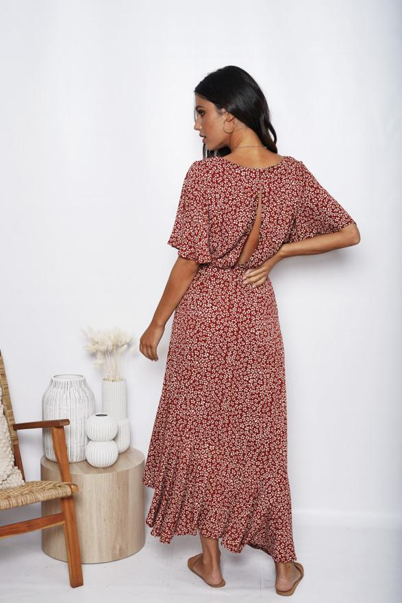 Cayman Dress - Wine Print