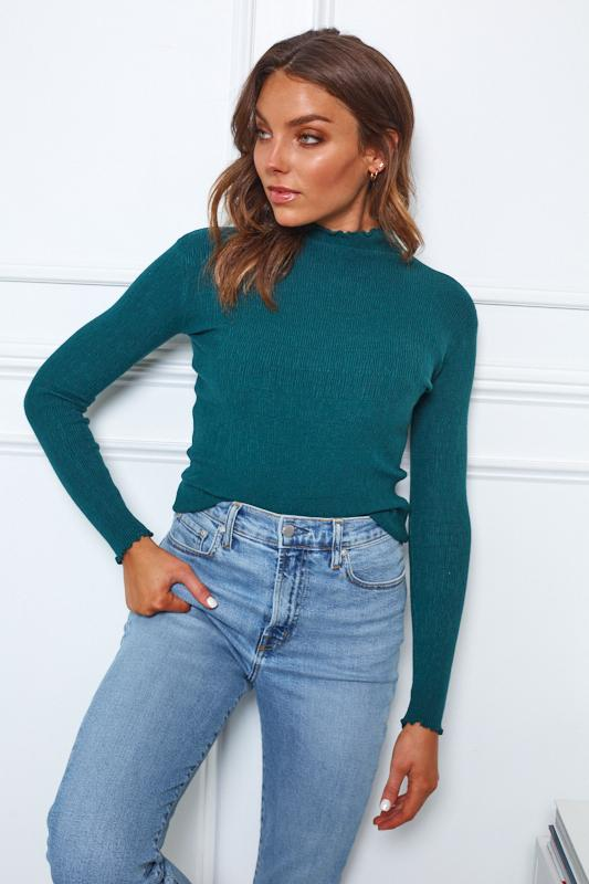 Chantel Knit - Emerald-Tops-Womens Clothing-ESTHER & CO.
