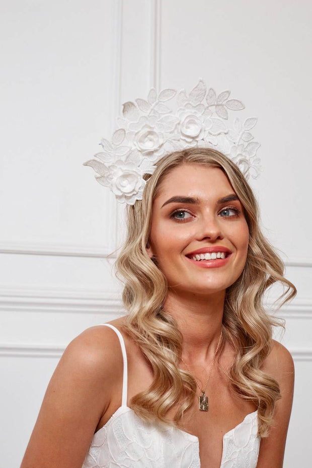 Charlotte Fascinator - White-Fascinators-Womens Accessory-ESTHER & CO.