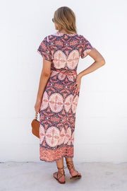 Chula Dress - Rust Print-Dresses-Womens Clothing-ESTHER & CO.