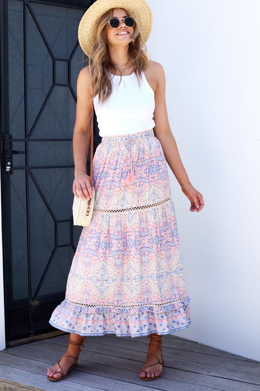 Clara Skirt - Pink Print-Skirts-Womens Clothing-ESTHER & CO.