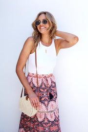 Clara Skirt - Rust Print-Skirts-Womens Clothing-ESTHER & CO.