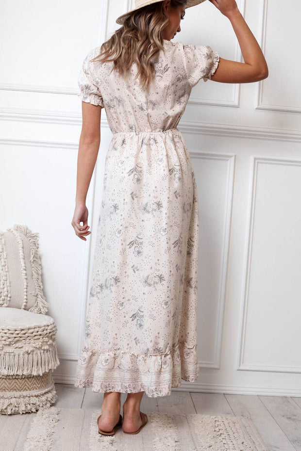 Corfu Dress - Beige Print-Dresses-Womens Clothing-ESTHER & CO.