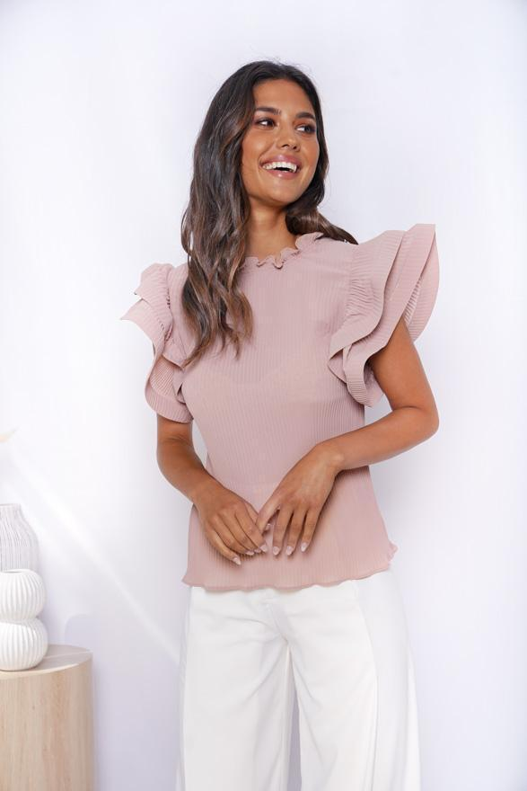 Creme Brulee Top - Nude-Tops-Womens Clothing-ESTHER & CO.