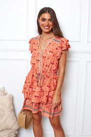 Crystler Dress - Peach Print-Dresses-Womens Clothing-ESTHER & CO.