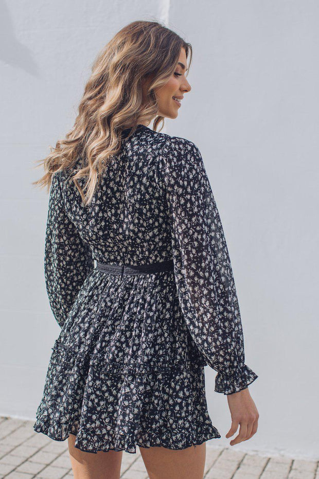 Daffy Dress - Black Print-Dresses-Womens Clothing-ESTHER & CO.