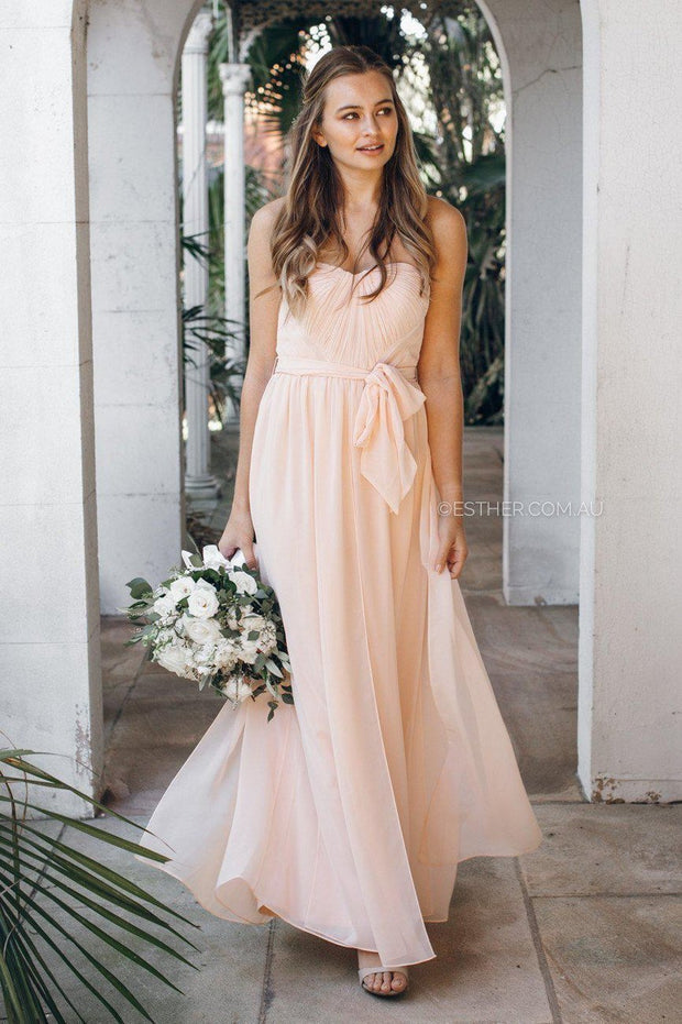 Dahlia Multi Way Maxi Dress - Soft Peach-Dresses-Esther Luxe-ESTHER & CO.