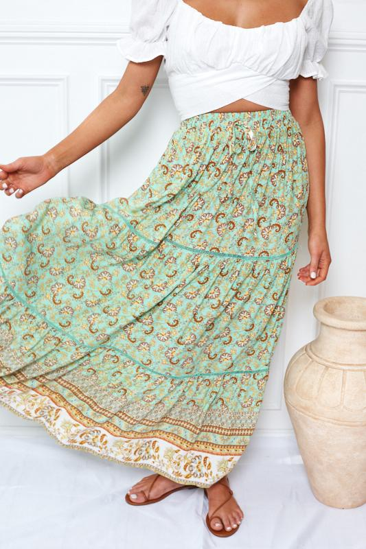 Daintree Skirt - Green Print-Skirts-Womens Clothing-ESTHER & CO.