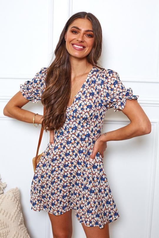 Dainty Dress - Navy Print-Dresses-Womens Clothing-ESTHER & CO.