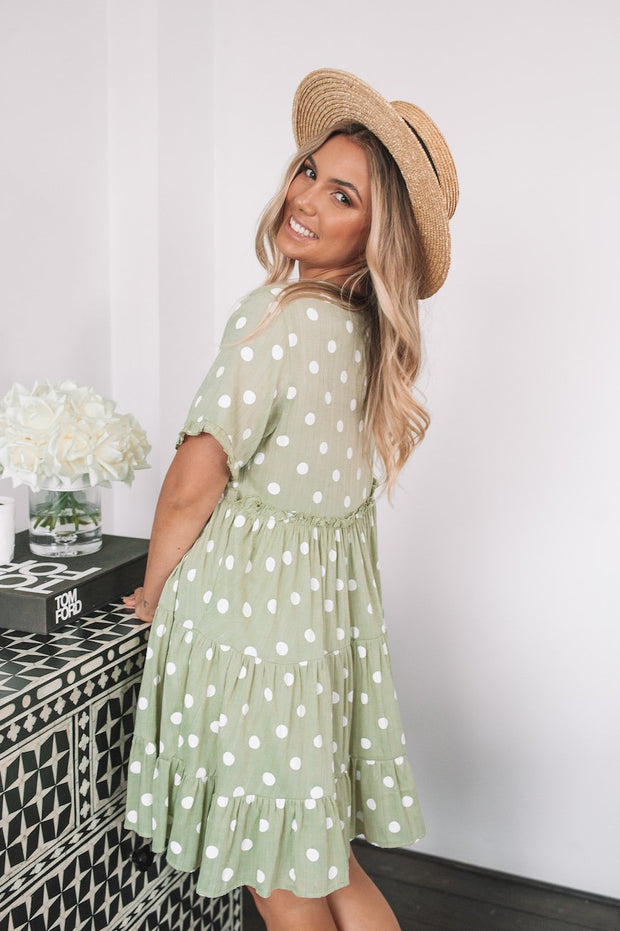 Deanna Dress - Sage Spot-Dresses-Womens Clothing-ESTHER & CO.