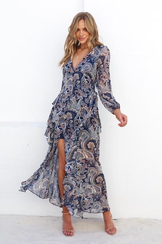 Delfi Dress - Navy Print