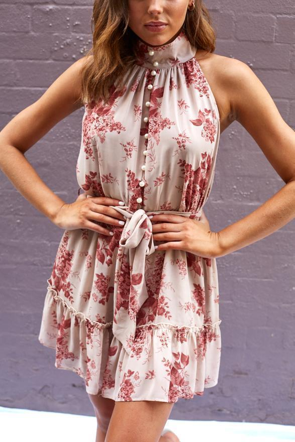 Deliah Dress - Beige Print-Dresses-Womens Clothing-ESTHER & CO.