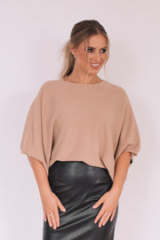 Demia Top - Camel-Tops-Womens Clothing-ESTHER & CO.
