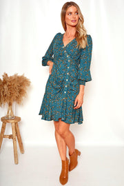 Ditsia Dress - Green Print-Dresses-Womens Clothing-ESTHER & CO.