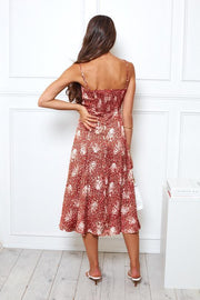 Diwali Dress - Rust Print-Dresses-Womens Clothing-ESTHER & CO.