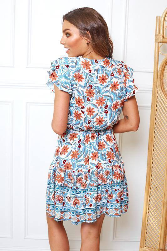 Escargot Dress - Blue Print-Dresses-Womens Clothing-ESTHER & CO.