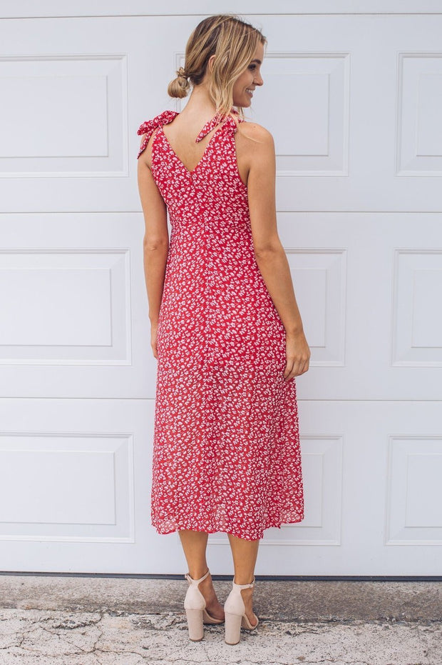 Fall For You Dress - Red Print-Dresses-Wild Ginger-ESTHER & CO.