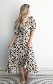 Filippa Dress - Beige Print-Dresses-Womens Clothing-ESTHER & CO.