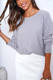 Fixation Knit - Grey-Tops-Womens Clothing-ESTHER & CO.