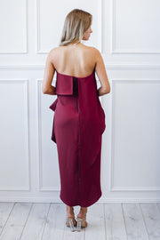 Fleur Strapless Dress - Burgundy-Dresses-Esther Luxe-ESTHER & CO.
