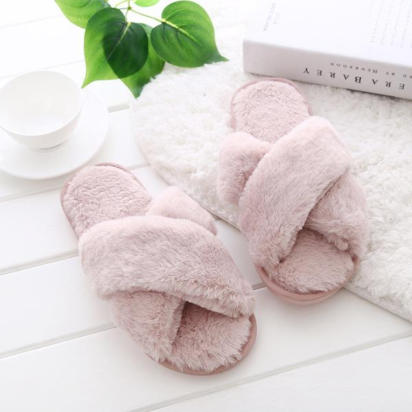 Fluffy Slippers - Dusty Blush-Flats-Womens Accessory-ESTHER & CO.