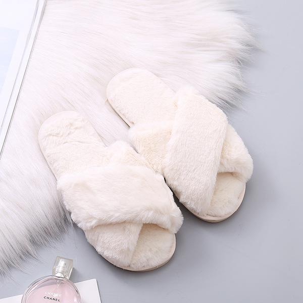 Fluffy Slippers - White-Flats-Womens Accessory-ESTHER & CO.