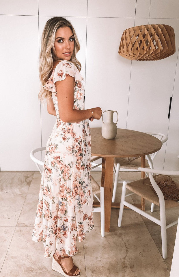 Fluttering Dress - Cream Print-Dresses-Womens Clothing-ESTHER & CO.