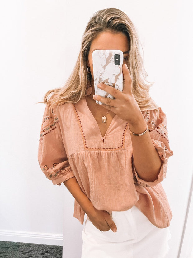 Folksie Blouse - Pink-Tops-Womens Clothing-ESTHER & CO.