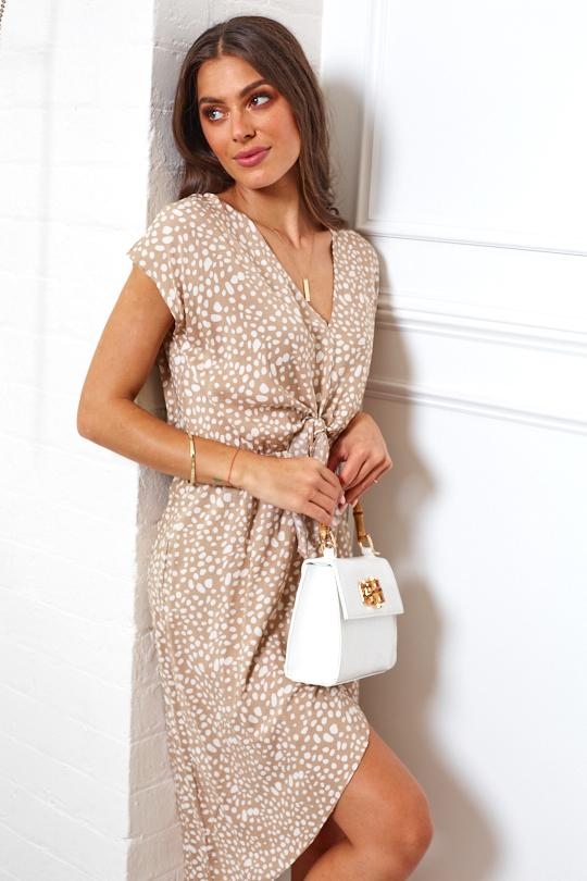 Framed Dress - Beige Print