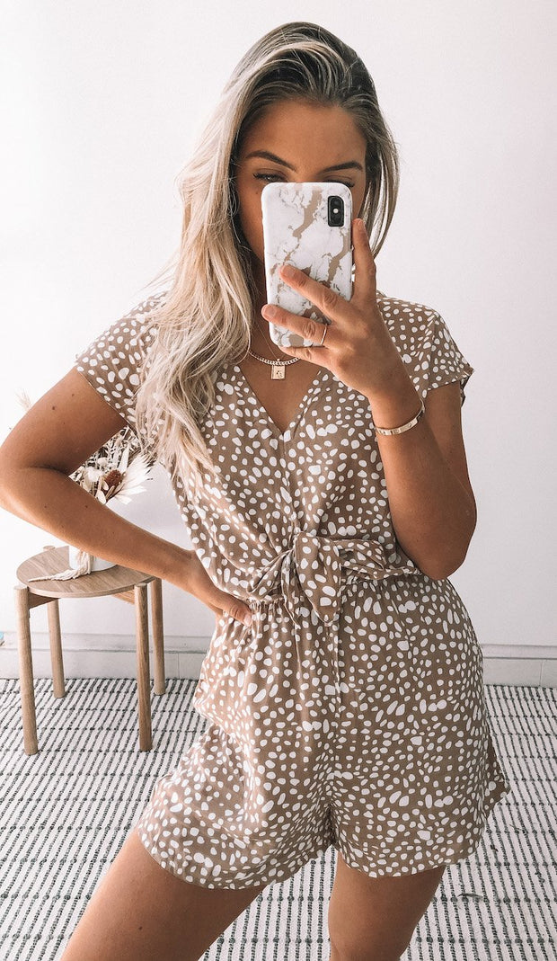 Gale Playsuit - Beige Print-Playsuits-Womens Clothing-ESTHER & CO.