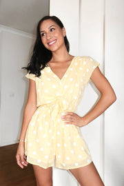 Gale Playsuit - Yellow Spot-Playsuits-Womens Clothing-ESTHER & CO.