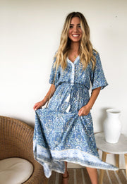Galiela Dress - Blue Floral-Dresses-Womens Clothing-ESTHER & CO.