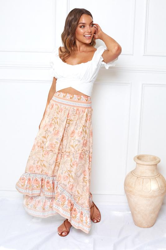 Garden Party Skirt - Blush Print-Skirts-Womens Clothing-ESTHER & CO.