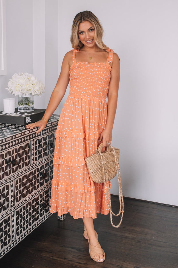 Germaine Dress - Orange Spot-Dresses-Womens Clothing-ESTHER & CO.