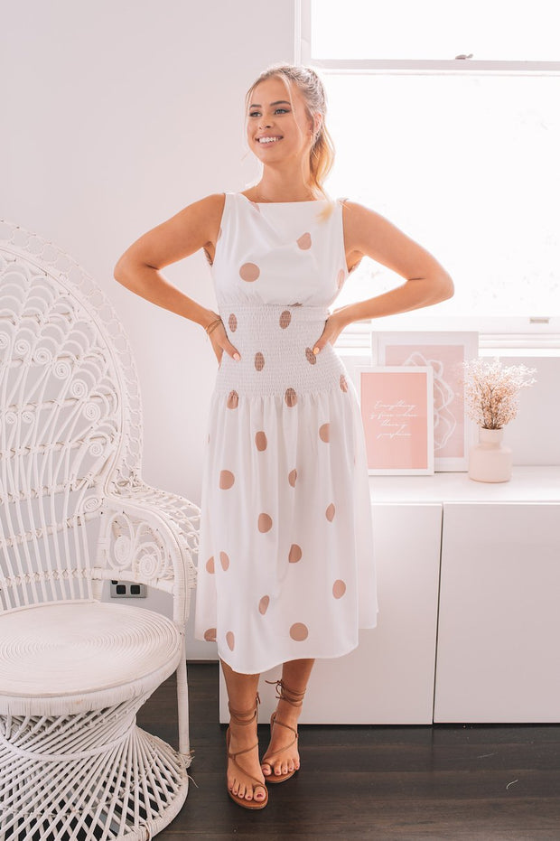 Gracie Dress - Beige Spot-Dresses-Womens Clothing-ESTHER & CO.