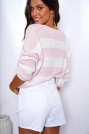 Gumdrop Knit - Pink Stripe-Tops-Womens Clothing-ESTHER & CO.