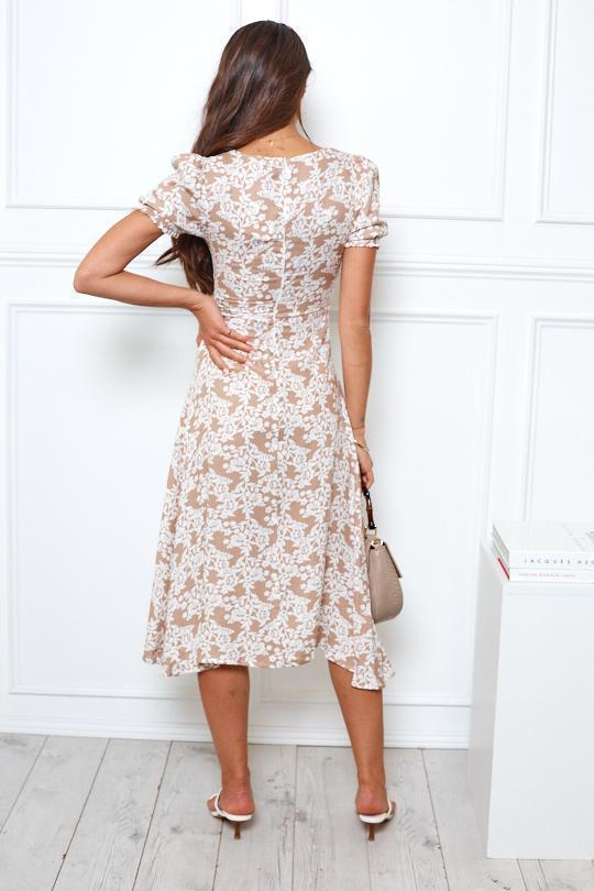 Guru Dress - Beige Print-Dresses-Womens Clothing-ESTHER & CO.