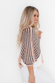 Hatili Knit - Blush Multi-Tops-Womens Clothing-ESTHER & CO.