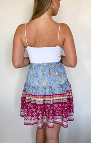 Hera Skirt - Blue Print-Skirts-Womens Clothing-ESTHER & CO.