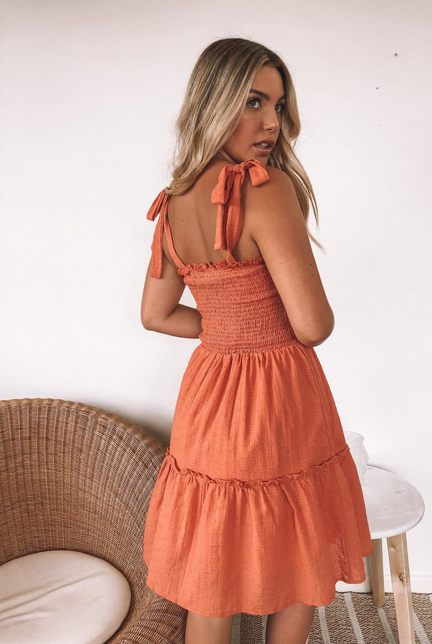 Hester Dress - Rust-Dresses-Womens Clothing-ESTHER & CO.