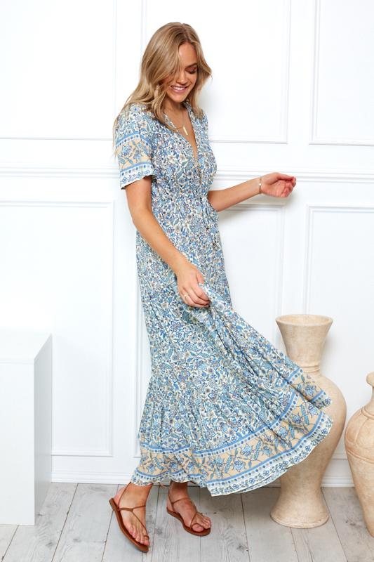 Hibiscus Dress - Blue Print