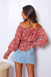 Hoskin Top - Rose Print-Tops-Womens Clothing-ESTHER & CO.