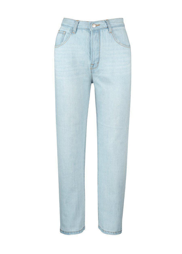 Houston Mum Jean - Light Blue-Jeans-White By FTL-ESTHER & CO.