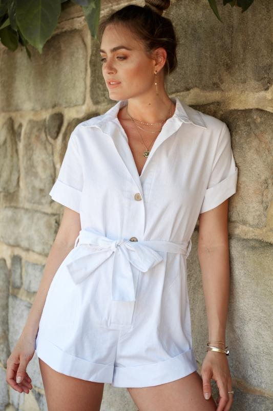Hut Playsuit - White-Playsuits-Womens Clothing-ESTHER & CO.