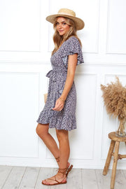 Jeannie Dress - Navy Print-Dresses-Womens Clothing-ESTHER & CO.