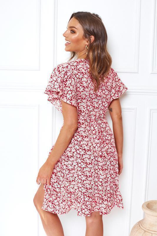 Jeannie Dress - Red Print-Dresses-Womens Clothing-ESTHER & CO.