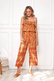 Jeronimo Jumpsuit - Orange Print-Jumpsuits-Womens Clothing-ESTHER & CO.