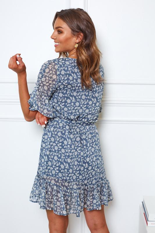 Jorah Dress - Blue Print-Dresses-Womens Clothing-ESTHER & CO.