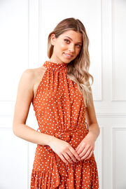 Kezia Dress - Rust Print
